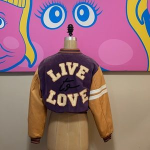 Moschino Live to Love Leather Suede Bomber Jacket